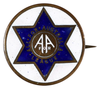 This badge was produced and worn by members of the All for Australia League, a conservative citizens' movement that formed in response to the political unrest caused by the 1930s Great Depression.