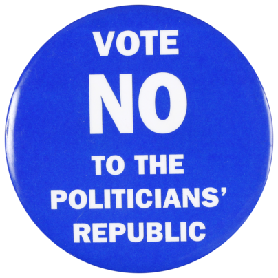 This badge was produced by Australians for a Constitutional Monarchy to support the 'No' case in the republic referendum, held in November 1999. The referendum proposed altering the Constitution 'to establish the Commonwealth of Australia as a republic with the Queen and Governor General being replaced by a President appointed by a two-thirds majority of the members of the Commonwealth.' The proposal was defeated.
