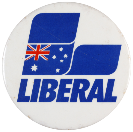 This badge was produced by the Liberal Party of Australia.