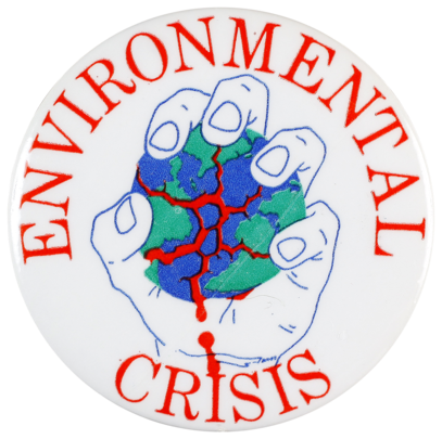 This badge was produced in the 1970s as the environment movement was gaining momentum.