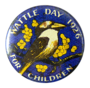 Post-war Wattle Days continued to be linked with charity fundraising. This badge was probably bought to raise funds for a hospital or orphanage, institutions that at this time depended heavily on local public support.